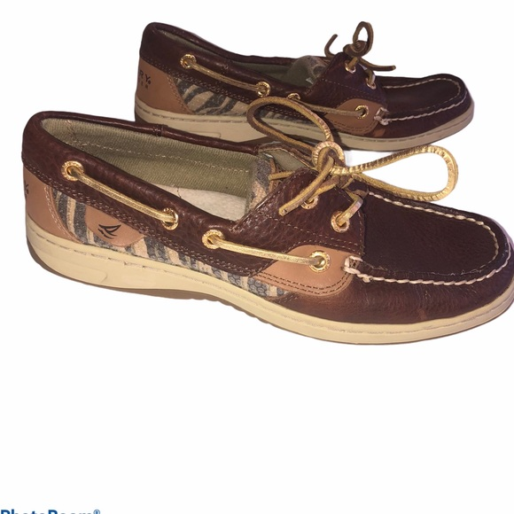 Sperry Boat Shoes Tiger Print Sequin Size 6